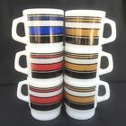 6 Fire King Coffee Mugs Cups Super Stripe Stacking D Handle Anchor Hocking MCM