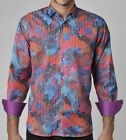 Luchiano Visconti Casual Shirt Mens S Striped Abstract Overlay Multi Color NWT