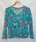 LILLY PULITZER Ladies Blue Green Pink Floral Cotton Stretch Shirt Top L