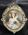 Antique Signed Marcius Portrait Miniature Woman In Hat Filigree Seed Pearl Frame