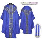 V COLLAR BLUE GOTHIC Vestment & Stole Set Lined Chasuble,Casel,Casulla, NEW