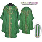 V COLLAR GREEN GOTHIC Vestment & Stole Set Lined Chasuble,Casel,Casulla,NEW
