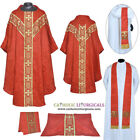 V COLLAR RED GOTHIC Vestment & 5 PC Mass Set Lined Chasuble,Casel,Casulla, NEW
