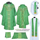 V COLLAR GREEN GOTHIC Vestment & 5 PC Mass Set Lined Chasuble,Casel,Casulla,NEW