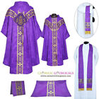 V COLLAR VIOLET GOTHIC Chasuble & 5 PC Mass Set Lined Chasuble,Casel,Casulla,NEW