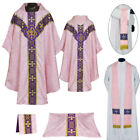 NEW V COLLAR ROSE GOTHIC Vestment & 5 PC Mass Set Lined Chasuble,Casel,Casulla