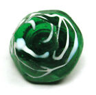Antique Charmstring Glass Button Faceted Greenw/ White Swirl Design- 3/8 inch