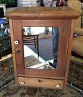 ANTIQUE OAK MEDICINE SPICE CABINET HANGING CUPBOARD MIRROR DOOR DRAWER LOCK KEY