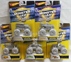 Set Lot of 5 Hot Wheels Monster Jam 25th Anniversary Silver Collection Trucks