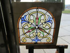 ~ BEAUTIFUL ANTIQUE STAINED GLASS WINDOW ~ 28 X 27 ~ ARCHITECTURAL SALVAGE