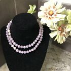 Vintage Estate Amethyst Cape 14 mm and Pearl Knotted Bead Necklace 14