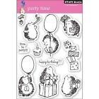 New Penny Black RUBBER STAMP clear Acrylic PARTY TIME birthday set free usa ship