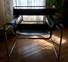 Vintage Knoll Wassily Chair Black Leather Chrome Marcel Breuer Midcentury Modern