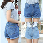 Vintage Womens Denim High Waisted Shorts Jeans Hotpants Summer Short Trousers US