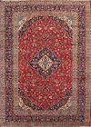 Handmade Vintage Traditional Floral Red 10x13 Kashan Persian Oriental Area Rug