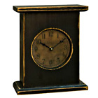 Primitive Aged Wood `Black Mantel Clock** Battery Operated`Made in USA`
