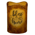 Primitive Farmhouse Grungy LED Pillar Candle Bless This Home w Timer