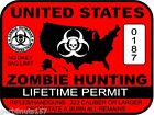United States Zombie Hunting Permit sticker outbreak response team decal RED
