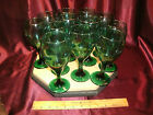Set of 12 Teardrop Translucent Green/teal Water Goblets-7