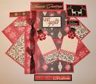Premade SEASONS GREETINGS CHRISTMAS SEWN Scrapbook Page Mat Set 15 pieces