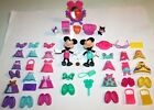 Disney Minnie Mouse Bowtique 44 Pc Lot Dolls Snap On Dress Up Outfits Shoes Bows