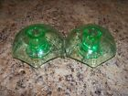 Green Depression Glass Candle Holders-Art Deco Glow
