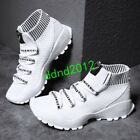 New Men High Tops Shoes Lace Up Knit Breathable Flat Sports Sneaker Shoes Size
