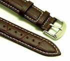 20mm Brown/White Leather Replacement Alligator Watch Band - Maurice Lacroix 20