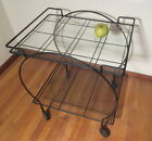Mid Century Modern Serving Cart Wrought Iron w/Glass Top Rounded Sides c1960