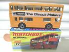 Lesney Matchbox MB17B 1972 THE LONDONER ORANGE JACOBS BISCUIT MAKERS Bus NB