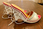 BCBG Max Azria white wedge laceup leather shoes sandals size 9.5B Italy