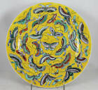 CHINESE REPUBLIC ERA PORCELAIN PLATE BUTTERFLY, MOTH w YELLOW GROUND 25.8 CM.