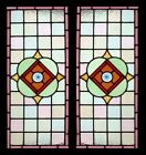 Exceptional Victorian Pair Antique English Stained Glass Windows Spiral Rondels