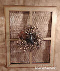Primitive Crackle Tan w/ Black Stars Wood Window Frame Chicken Wire Pip Berry