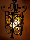 Glass Hanging LANTERN Light Fixture ITALY Tole Gothic Modern Lamp