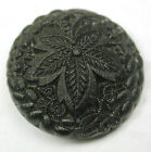 Antique Black Glass Button Fancy Embroidery Style Leaf Design 1