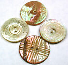 Lot of 4 Antique Carved Shell Buttons Sew through - 11/16 to 3/4