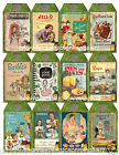 SET OF 12 2X325 VINTAGE COOKBOOK COVERS 04 SCRAPBOOK CARD HANG GIFT TAGS