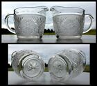 Pair Anchor Hocking Sandwich Glass Cream Pitchers 2 Creamers Clear Crystal OLD