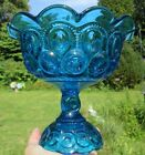 Vintage Fenton Blue Glass Compote Fruit Candy Pedestal Dish Moon Stars