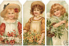 SET OF 12 15X325 COUNTRY FLOWER GIRLS 02 SCRAPBOOK CARD HANG GIFT TAGS