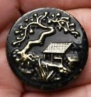 Large Picture Button with cabin, pear tree. 1 1/4 inch.