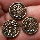 Set of 3 Matching Filigree metal buttons with cut steel decorations. 5/8 inch.