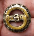 2-piece Brass picture Button of a Buckle, Pierced, Detail. 7/8 inch.