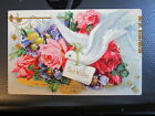 vintage postcard BEST WISHES DOVE at the WINDOW PANSY ROSES CURTAIN used