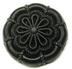 Antique Black Glass Button Fancy Embroidery Flower Design 1