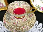 ROYAL STAFFORD tea cup and saucer red floral chintz gold gilt teacup trio