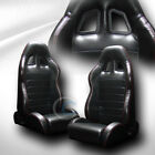 2X SP SPORT BLK PVC LEATHER RED STITCH RECLINABLE RACING BUCKET SEATS+SLIDER C52