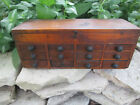 Antique Mini Wooden Notions Box Chest w/12 Drawers Sewing/Jewelry Findings 11x4