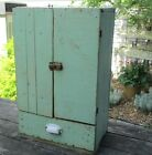 Primitive Small HANGING CUPBOARD Old Green Paint 1890s Antique Wall Cabinet